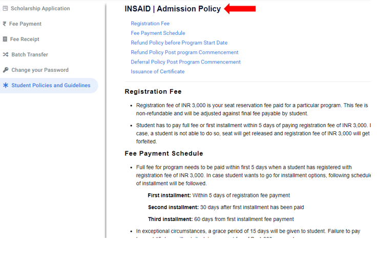 How to access INSAID Admission Policy?